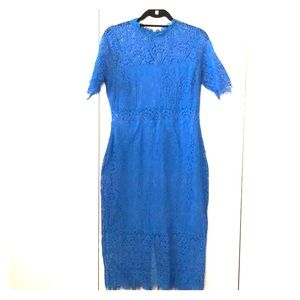 Blue lace midi dress. From Vici